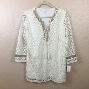 NWT Charter Club lace tunic sz M